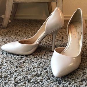 Nude Jessica Simpson heels with side cut out